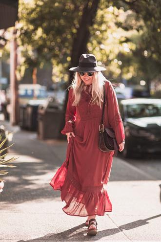 british fashion blog - mediamarmalade blogger dress shoes sunglasses felt hat fall outfits red dress maxi dress shoulder bag