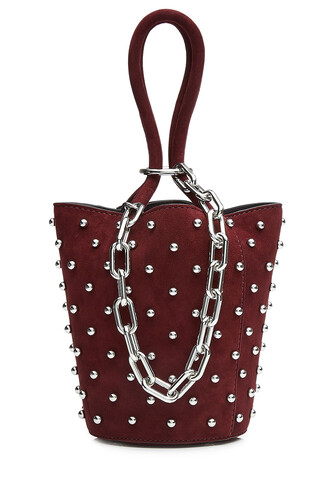 embellished suede red bag