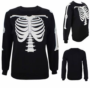 NEW Ladies Halloween Skeleton Bone Print Womens Sweatshirt Jumper TOP | eBay
