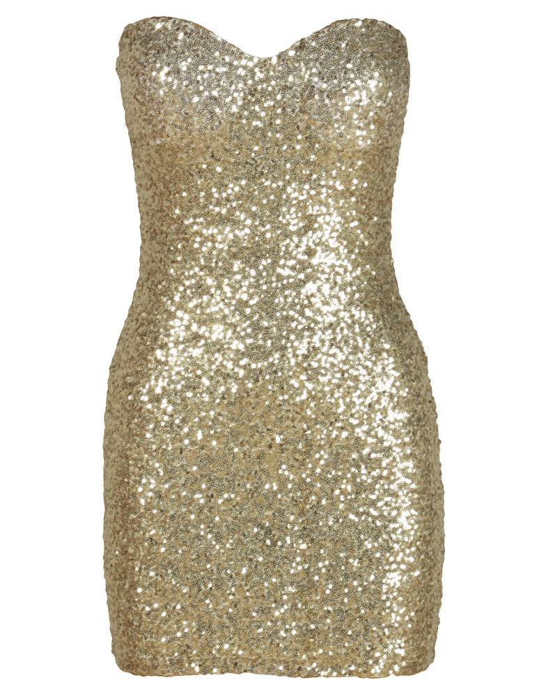 Gold All Over Sequin Embellished Boob Tube Dress