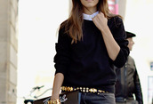sweater,black,cable knit,tucked in,collar,white,gold,belt