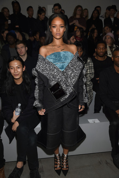 jacket top skirt rihanna fashion fashion week 2015