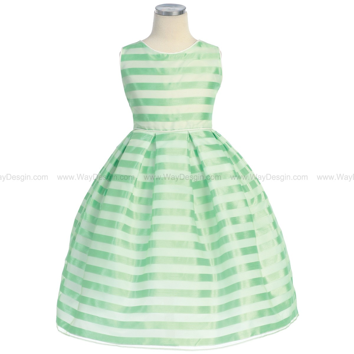 Lime Stripe Organza Box Pleat Dress