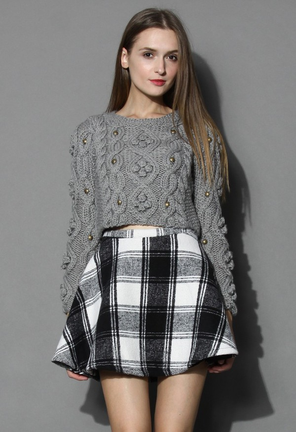 chicwish cable knit grey sweater cropped sweater