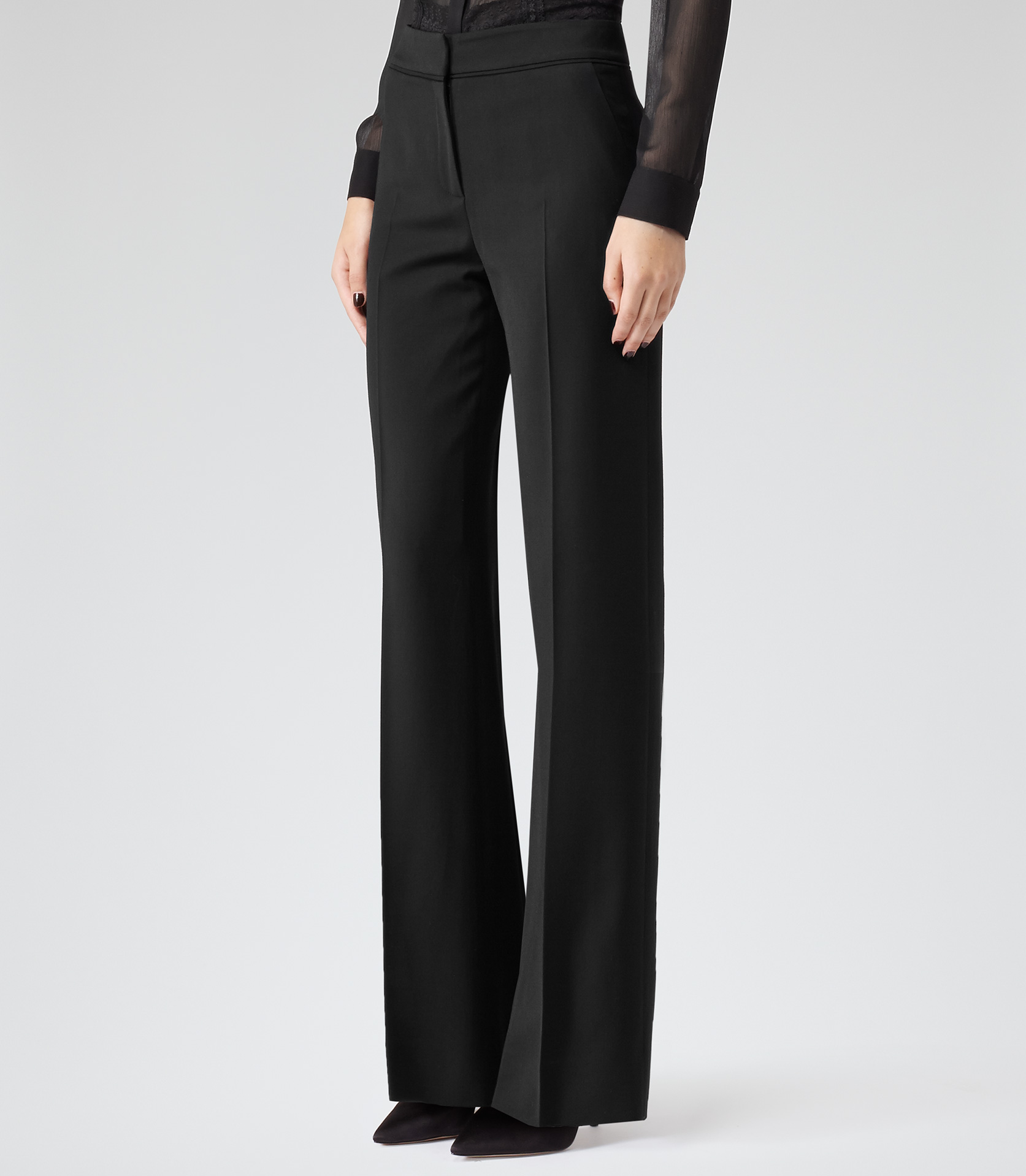 Nisa Black Wide-leg Tailored Trousers - REISS