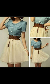 belt,brown leather belt,skirt,colorful,shirt,jewels,dress,cute,dress denim + chiffon,denim dress,white,brown belt,denim,blue,button,belted,cream