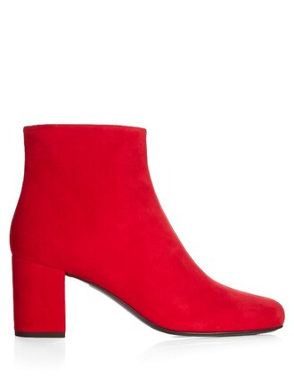 heel suede ankle boots boots ankle boots suede red shoes