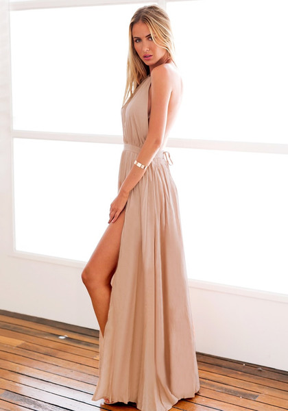 Nude M Slit Halter Dress