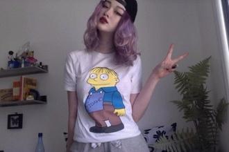 t-shirt shirt the simpsons tv grunge indie hipster pale white t-shirt ralph wiggum cute cool ralphie rare