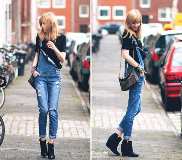 313bf744589 jumpsuit denim denim jumpsuit denim jumper dungaree girly cute grunge  fashion cothes black blouse blonde hair