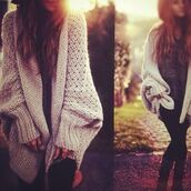 sweater,white,cream,oversized,long,big,pretty,winter outfits,cardigan