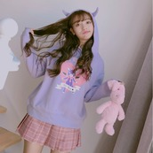 sweater,zip up jacket,devil,black devil,purple,liac,pastel purple,pastel,fairy kei,pastel goth,3d sweatshirt,fairy kei fashion,fairy kei hoodie,fairy kei jacket,kawaii clothing,kawaii grunge,cute fashion,cute clothing,cute top,cute jumper,bear print jumper,harajuku,japanese fashion,jfashionshop,storenvy,tumblr outfit,purple sweatshirt,purple sweater,lilac sweatshirt,lilac sweater,dejavucat