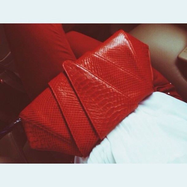 f281fc9be0 bag red kim kardashian bag clutch purse handbag leather bag python clutch  exotic bags leather clutch