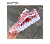 shoes,pink vans floral,vans,pink,roses,sneakers,flowers