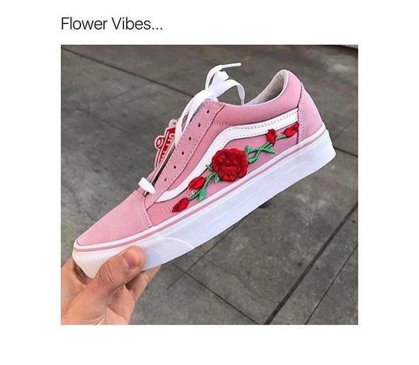 shoes  pink vans floral  vans  pink  roses  sneakers  flowers