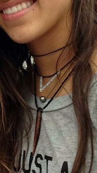 jewels leather pearl pendant necklace boho chocker california