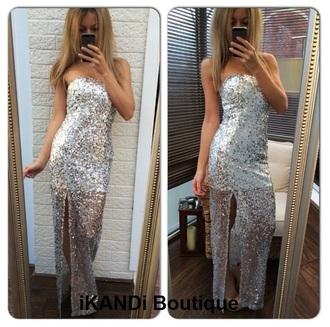 dress party dress glamourous sequin dress sequins silver maxi dress bandeau sparkly dress prom dress long dress party formal party dresses