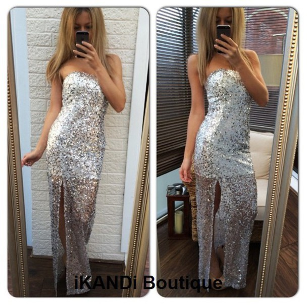 Silver sequin bandeau maxi dress
