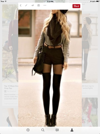 shorts tights boots high waisted black shorts sweater scarf socks top