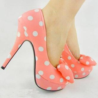 shoes pink baby pink bows bow high heels polka dots white polka dot