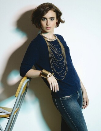 jewels necklace bracelets lily collins sweater top
