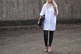 sara luxe blogger leather pants white shirt