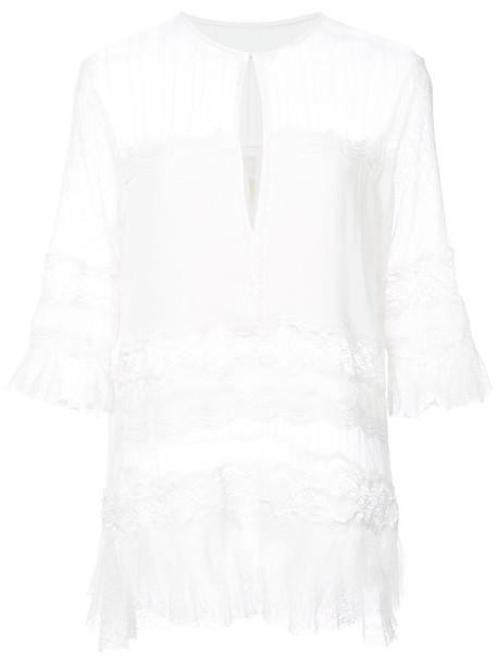 Jonathan Simkhai blouse women lace white silk top