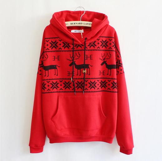Popular clothing — deer hooded sweater shirt for women