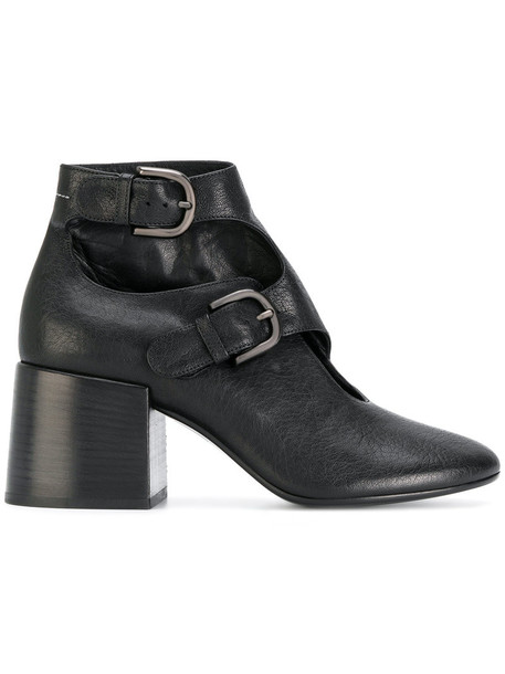 Mm6 Maison Margiela heel women ankle boots leather black shoes