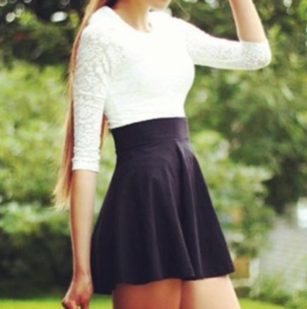 dress little black dress white top lace dress long sleeve dress
