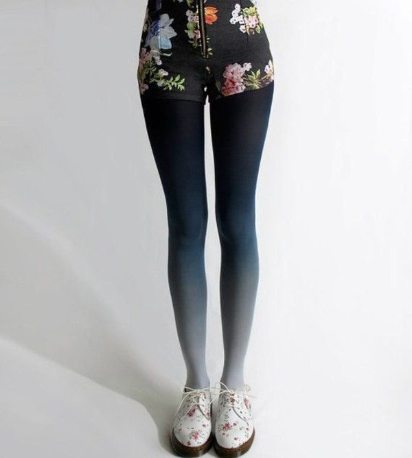 tights cool legs beautiful ombre floral roses
