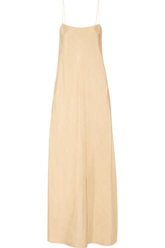 gown silk beige dress