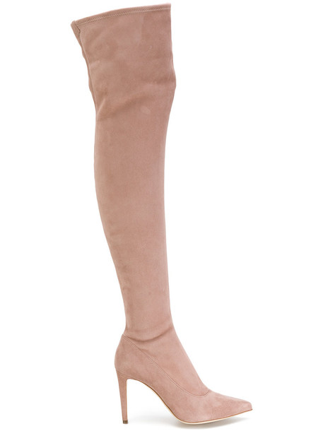 Sergio Rossi pointed boots high women leather nude suede shoes