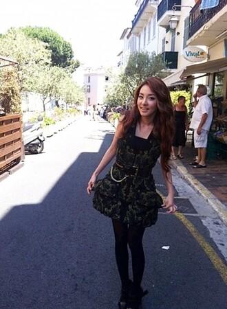 dress leaf summe green black modern city fashion