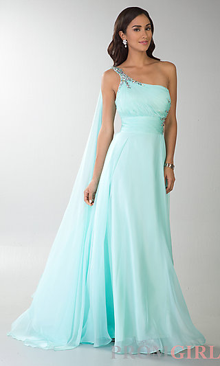 One Shoulder Prom Gown, Dave and Johnny Long Prom Dress- PromGirl