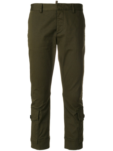 Dsquared2 cropped women spandex cotton green pants