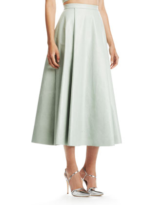Alice   Olivia Daven Long Leather Skirt - Neiman Marcus