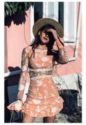 dress,bell sleeve dress,tumblr,mini dress,orange,orange dress,peach dress,peach,floral,floral dress,bell sleeves,long sleeves,long sleeve dress,hat,sun hat,pastel dress