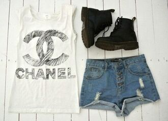 shoes white shirt grunge chanel chanel inspired shorts t-shirt tank top summer drmartens black white tank top boots