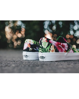 shoes vans hawaiian vans floral vans black