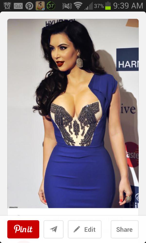 dress kim kardashian blue dress kim kardashian dress