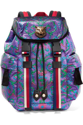 metallic embellished backpack purple bag