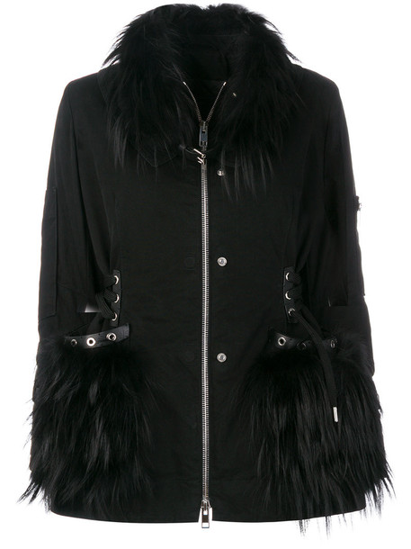 Ermanno Scervino coat fur fox women leather cotton black