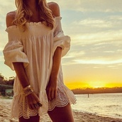 dress,bohemian dress,lace,white,summer,cute,girly,off the shoulder,beach,sexy