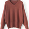 Brown v neck ribbed trim sweater -shein(sheinside)