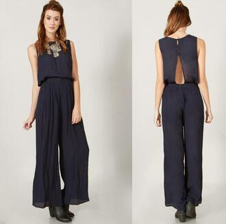 jumpsuit navy jumper romper open back cut-out sleeveless wide leg chic designer junior date outfit party