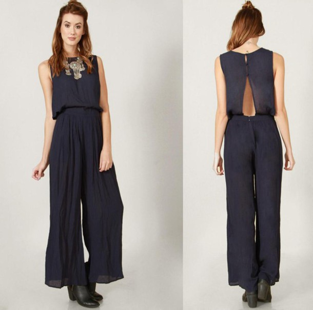 Jumpsuit: navy, jumper, romper, open back, cut-out, sleeveless ...