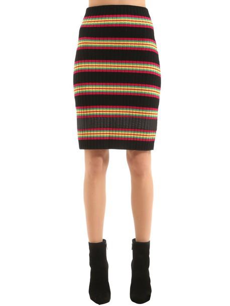 MARCO DE VINCENZO Striped Wool Rib Knit Skirt