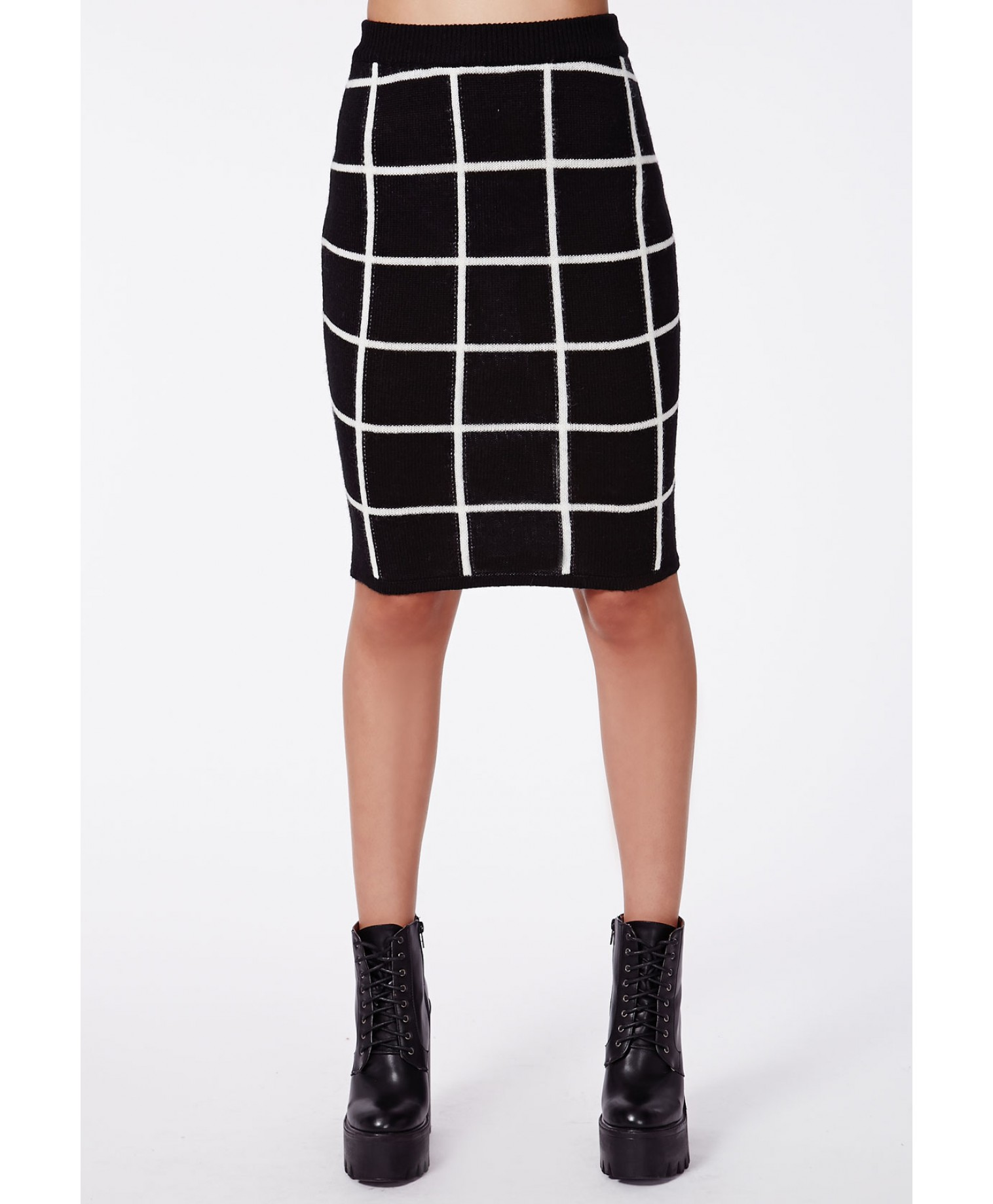 Missguided - Lyzzie Grid Brushed Knit Midi Skirt Monochrome