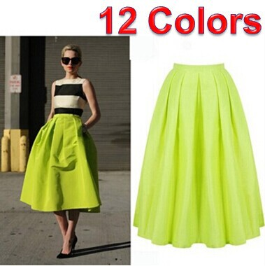 Shiny lime green women puff pleat midi skirts winter autumn fashion black purple maxi skirt solid skater pleat saias femininas